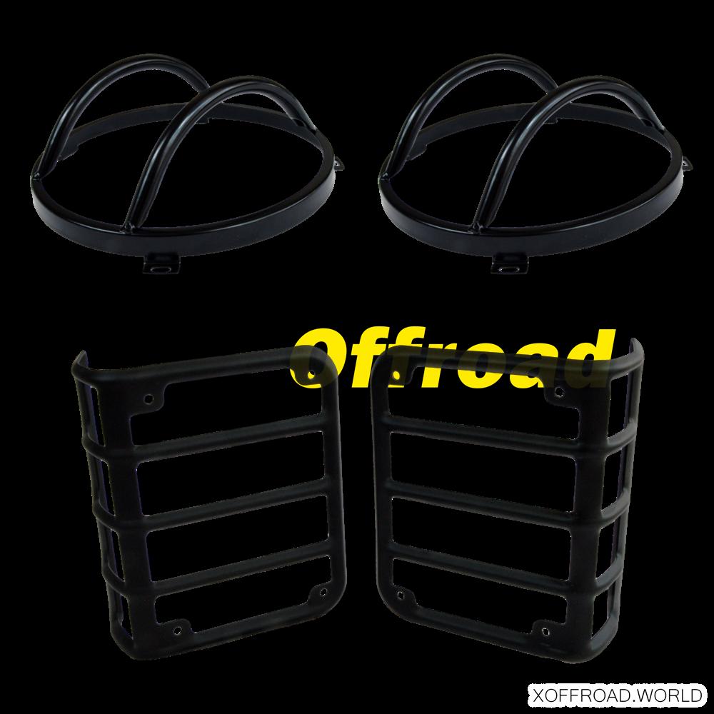 Set Frontscheinwerfer Und Rückleuchten Lampenschutz Schwarz Jeep
